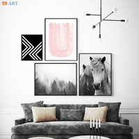 Abstract Watercolor Geometric Blush Pink Horse Forest Prints Nordic Wall Art Canvas Painting for Livingroom Home Decor Framed