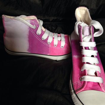 Girls Canvas Shoes - Pink,Purple and Lilac hand dyed boots size UK 1 (33)