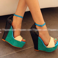 YESSTYLE: 77Queen- Genuine-Leather Color-Block Wedges - Free International Shipping on orders over $150