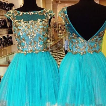 Zipper-up Mini Tulle Appliques Homecoming Dress