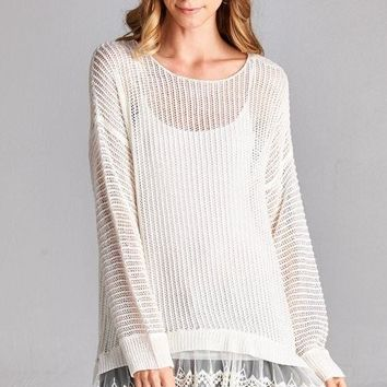 lightweight sweater with lace hem