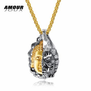 AMOURJOUX Punk Kind Evil Half Buddha Demon Face Hiphop Rock Design 316L Stainless Steel Pendant Necklaces For Men
