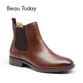 BeauToday Chelsea Boots for Women Genuine Leather Fashion Square Toe Elastic Ankle Len