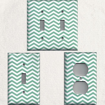 Teal Aqua Blue/Green Chevron Light Switchplates and Wall Outlet Covers Chic Home Decor Accents