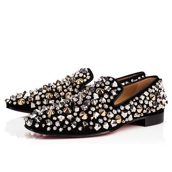 Christian Louboutin Cl 18w Dandelion Mix Suede Black/black Gun Loafers