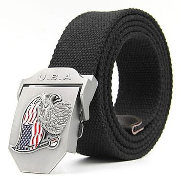 Canvas Belt Military Tactical Waist Belt Men's Brand Casual Belts Eagle Flag Metal Automatic Buckle Belt Cool Tactical Gear