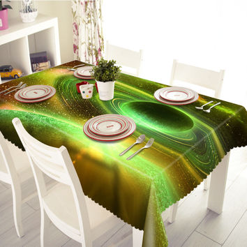 NEW 3D Tablecloths Universe Space Planets Stereoscopic Printing Waterproof/oil-Proof Washable Thicken Rectangle Dining Table