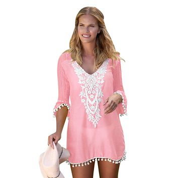Pink Crochet Pom Pom Trim Beach Tunic Cover up