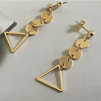 ES292 Triangle Pendant Stud Earrings Fashion Jewelry Geometric Circle Coin Brincos Earing pendientes mujer boucles Bijoux