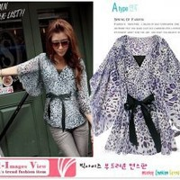 Japanese Fashion Leopard Stripe Batwing Sleeve