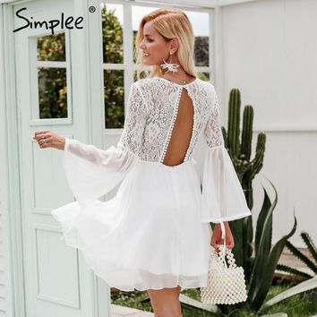 Simplee Embroidery flare sleeve hollow out women dress Vintage lace backless sexy dress Elegant ruffle winter white dress