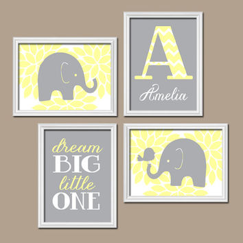 Elephant Wall Art Girl Nursery Artwork Flower Burst Child Light Yellow Gray Pastel Monogram Zoo Animal Jungle Set of 4 Prints Baby Child