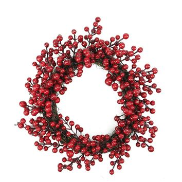 "16"" Decorative Artificial Red Berries Christmas Wreath - Unlit"