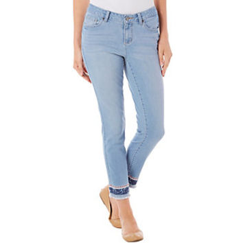 Earl Jean Womens Embriodered Hem Crop Jeans