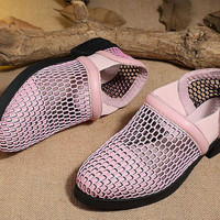 Handmade Women's soft Leather Hollow Sandals Sexy mesh shoes, Summer Sandals for Women,Flat Shoes, Pink Sandals