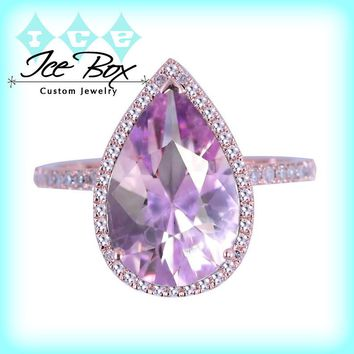 Lavender Amethyst Engagement Ring 3.2ct, 9 x 12mm Pear Shaped in a 14k Rose Gold Diamond setting