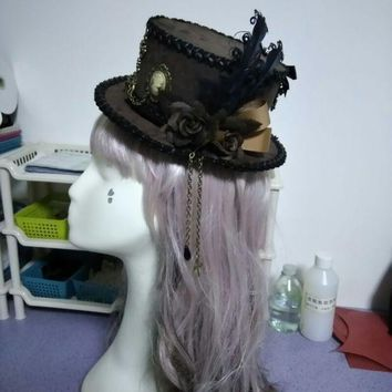 ONETOW Retro Brown Luxury Flower & Feather Sweet Bow Mini Top Hat Punk Steampunk Lolita Cosplay Hat Fedoras Hat