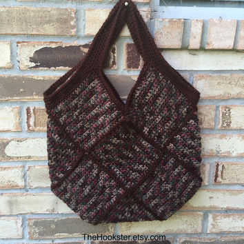 Large Crocheted Granny Square Bag in Fall Colors, Fully Lined, Crochet Tote Bag, College Book Bag, Shopper, Shoulder Bag, Bohochic Handbag