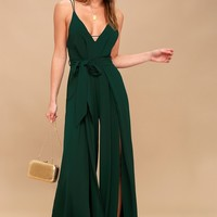Hype Dream Forest Green Backless Wide-Leg Jumpsuit