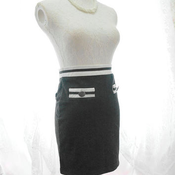 Vintage Retro Sophisticated Striped High Waist Pencil Skirt Dark Gray Marine