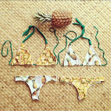 Brazilian Swimwear Reversible Bikinis Sexy Women Swimsuit Pineapple Printed Biquinis Bathing Suit Summer trajes de bano