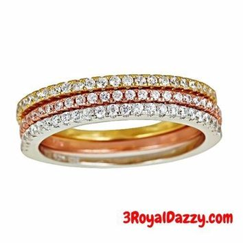 14k YWR Gold layer on 925 Silver Stackable Half Eternity CZ 3 Rings Set size 7