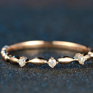 Antique Style Diamond in 18k Rose Gold Engagement Ring Wedding Birthday Anniversary Valentine's
