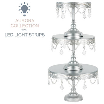 3-Piece Crystal-Draped LED Light Cake Stand Set (Silver)