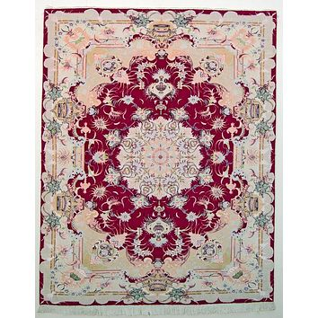 Oriental Persian Super Tabriz Natural Wool and Silk Rug, Red/Beige