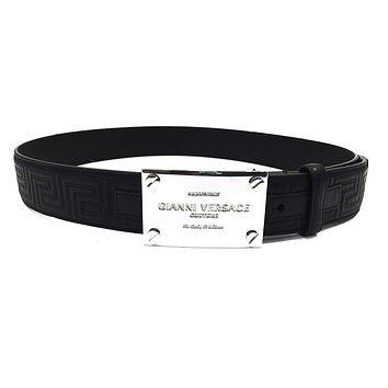 Versace Belt Black Leather with Versace Logo (size 90cm)