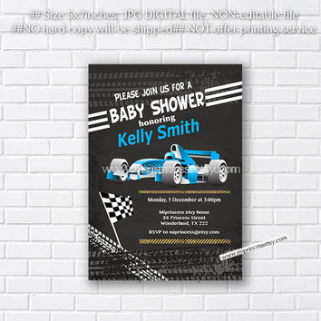 car baby shower, little boy baby shower, Race Car Invitation , it's a boy, on the way, race car shower, invitation - card 268