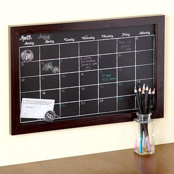 Magnetic Chalkboard Calendar Colored Chalk Pencils Organizer Planner Wood Frame