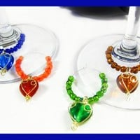 Wine Glass Markers with Wire-Wrapped Hearts and Coordinating Beads | TheTwistedRedhead - Housewares on ArtFire