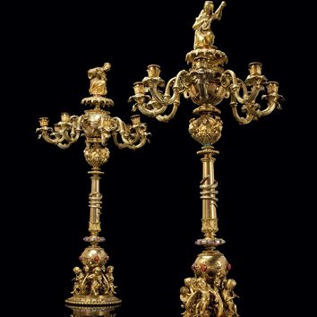 A PAIR OF IMPORTANT FRENCH SEMI-PRECIOUS AND HARDSTONE-MOUNTED ORMOLU EIGHT-LIGHT CANDELABRA, CAST BY DENIÈRE, DESIGNED BY AIMÉ CHENAVARD (1798-1838), THE FIGURES BY JEAN-JACQUES FEUCHÈRE (1807-1852), THE ORNAMENTS BY M. COMBETTES, PARIS, CIRCA 1834-1839