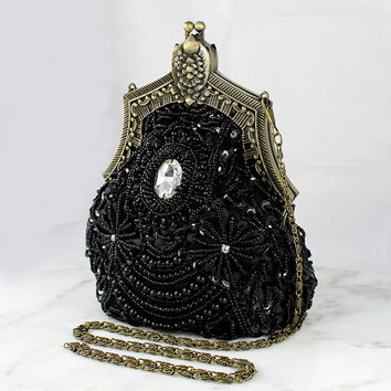 Art Deco Clutch, Old Hollywood Evening Bag, Beaded Sequin Handbag Purse Great Gatsby 1920 Flapper Girl Accessory