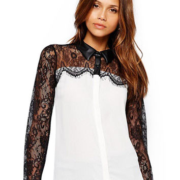 White Sheer Lace Long Sleeve Chiffon Blouse