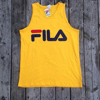 Vintage Deadstock Fila Tank Top Yellow new with tags Size Large