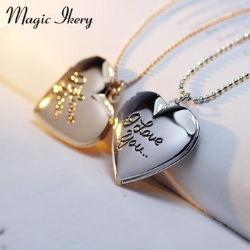 Magic Ikery Photo memory floating locket Heart Best Friend I love you Letter Photo Frame Necklace Women Fashion Jewelry MKA53