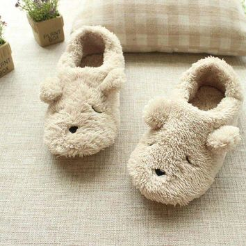 ONETOW Hot sale free shipping Cartoon plush bear autumn and winter at home slippers women cut
