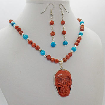 Goldstone Skull Turquoise Howlite Necklace Earrings Set Natural Stone Jewelry