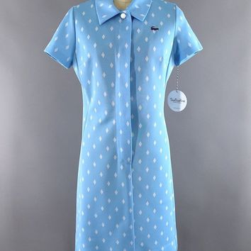 Vintage 1960s - 1970s Izod Lacoste Diamond Print Dress