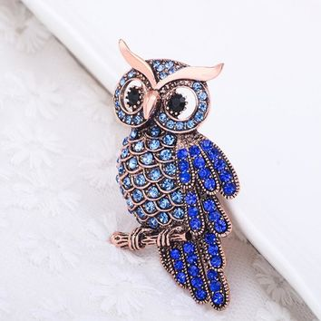Women's Men's Owl Korean Zinc Alloy Trendy Imitation Rhinestone Blue Brooch spille donna badge Christmas Gifts Accessories