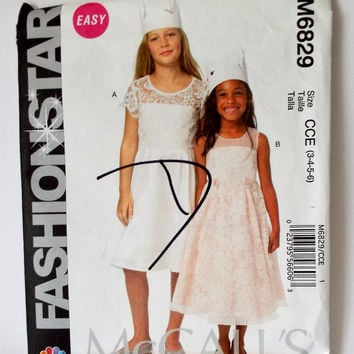 McCalls M6829 Flower Girl First Communion Party Dress Sewing Pattern Fashion Star 3 4 5 6 New Uncut