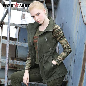 Brand Military Style Autumn Women Denim Vest Coat Army Green Drawstring Vests Jacket Zippers Female Sleeveless Outerwear & Coats