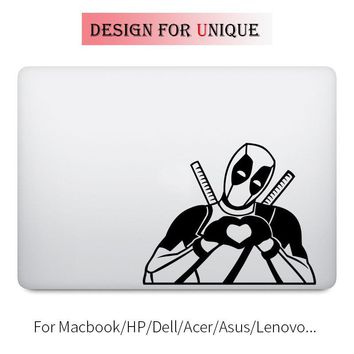 Deadpool Heart Hand Humor Decal Laptop Sticker for Apple Macbook Pro Air Retina 11 12 13 15 inch Vinyl Mac HP Surface Book Skin