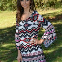 Charcoal and Red Chevron Printed Tunic Dress
