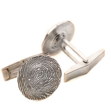 Custom Fingerprint Set of Cuff Links, Sterling Silver Cufflinks, Personalized Fingerprint Jewelry, Father's Day Gifts