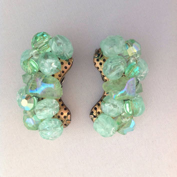 Green Art Glass Bead Earrings Aurora Borealis Earrings Spring Earrings 1950s Earrings Mid Century