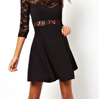 Black Ruffled Lace Dress