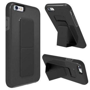 ONETOW iPhone 6S Case, iPhone 6 Case, Zvedeng Kickstand Foldable Stand Dual Layer High Impact Defender Case Heavy Duty Non-slip Shockproof Case Cover for Apple iPhone 6 and iPhone 6s Black and Grey